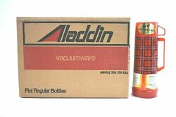 Unopened Case Pack Of 12 New Vintage Aladdin's 1 Pint Thermos Red Plaid Original