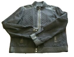 6450 Auth Mens Leather Double Zipper Jacket Black Size 54 Needs Repairs
