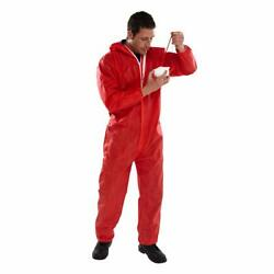 Disposable Coveralls Overalls Boilersuit Hood Painters Protective Suit Red
