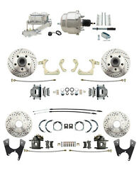 Chevy Car Front/rear Drilled And Slotted Disc Brake Conversion Kit Chrome Booster