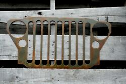 Jeep Grille Sign 1941-1945 Willys Mb Ww Ii Army Green/rust Patina / Jeep Decor