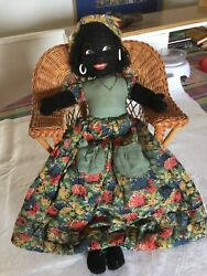ANTIQUE MERRYTHOUGHT BLACK CLOTH PAJAMA BED DOLL - RARE TO FIND! LOVELY COND!