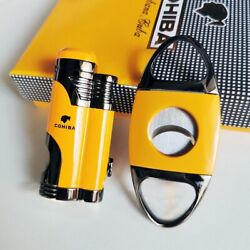Windproof Metal 2 Torch Jet Flame Cigar lighter and cutter Set with cigar punch $25.99