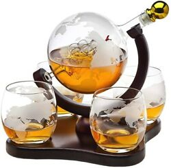 Whiskey Decanter Globe Set W 4 Etched Globe Whisky Glasses, For Liquor And Bourbon