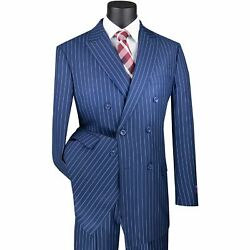 Vinci Menand039s Blue Pinstripe Double Breasted 6 Button Classic Fit Suit New