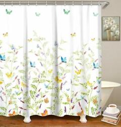 Nice Floral With Butterflies Farmhouse Fabric Shower Curtain Machine Washable