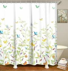 Floral With Butterflies Farmhouse Fabric Shower Curtain + Hooks Machine Washable