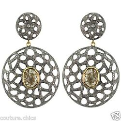 Sterling Silver Pave 4ct Diamond Dangle Earrings 14 K Gold Vintage Style Jewelry