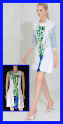 New Versace Resort 2012 Look16 Silk White Dress With Floral Print 38 - 2