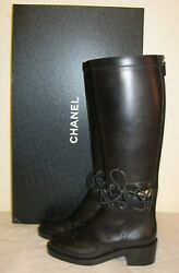 New Black Leather Knee High Riding Boots Size 37,5 Us 7,5
