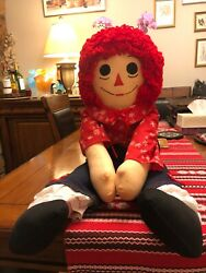 """Immaculate Vintage Jumbo Large Andy Raggedy Ann Doll Andy 3 Feet Tall 38"""""""