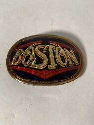 BOSTON VINTAGE 1977 PACIFICA ROCK MUSIC BAND BELT BUCKLE REFLECTIVE
