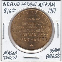 Masonic Token - Grand Lodge Of Af And Am Of Maryland - 1967 - 35 Mm Brass