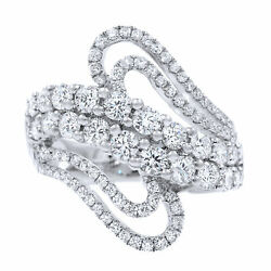 Diamond Pave Statement Cluster Ladies Ring 2.10cts 18k White Gold Size 6.5
