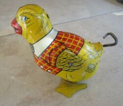 Vintage Wind Up Easter Chick J. Chein Lithograph Tin Toy Made In Usa Chicken