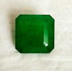11.71 Ct Zambia Emerald Natural Untreated Green Square 13.80 Mm Certified Gems A