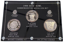 1994 Rose Bowl Commerative Medallion Set -rare Flip Coin- .999 Pure Silver Proof