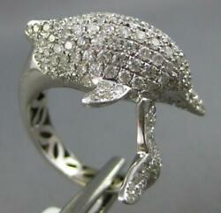 Estate Large 1.82ct Diamond 14kt White Gold 3d Classic Happy Dolphin Fun Ring
