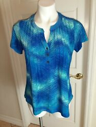 CORAL BAY SIZE SMALL BLUE TOP V-NECK BUTTON UP CUTE $12.99