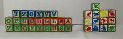 Vintage Lot Of 37 Antique Alphabet Letters Animals Objects Big Wood Toy Blocks