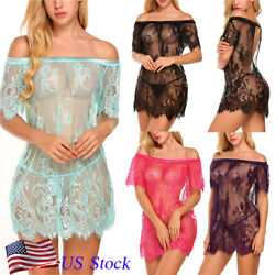 Off SHoulder Women Sexy Lingerie See Through Lace Chemise Sleepwear Nightgown US $13.98