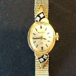 Antique 1970's Ladies Bulova Watch 14k Yellow Gold 4 Jewels N2 Engraved With Box