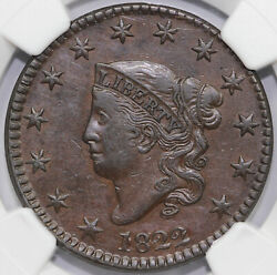 1822 1c N-1 Coronet Or Matron Head Large Cent Ngc Xf Details Cleaned
