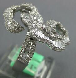 Large 1.59ct Diamond 18kt White Gold Round And Baguette Squiggly Fun Exciting Ring