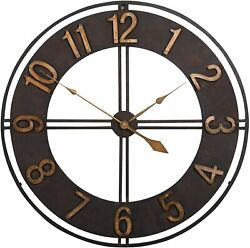 Wall Clock 30 2.5and039 Large Analog Bronzed Antiqued Shabby Chic Industrial Modern
