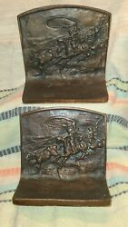 Antique Hubley Cast Iron Bookends Pair Bull Roping Horse And Cowboy Rodeo