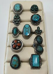 Native American Sterling Silver And Turquoise Coral 10 Mixed Lot Rings