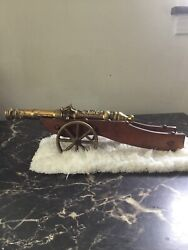 Vintage Brass And Wood Handcrafted Military Cannon Display Replica 14