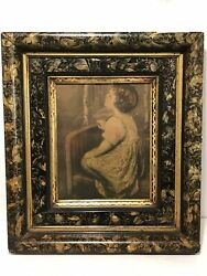 Antique Late 1890and039s Wood Picture Frame Antique Photo Child Praying Behind Glass