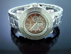 New Don And Co 3.50ct 3 Rows Large Diamonds 50mm Stainless Steel Watch Brown Face