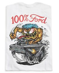 Menand039s Ed Big Daddy Roth Rat Fink 100 Ford Hot Rod White Cotton T-shirt M-3xl