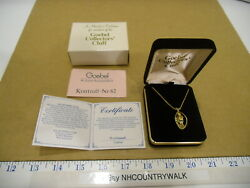 Goebel Collectors Club Little Girl Heart And Flower Basket Gold Chain Necklace Euc