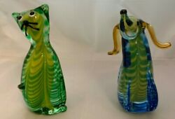 Vintage Murano Jico Glass Cat And Dog 6 3/4t 3 Color Ground And Polished Bottoms