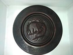 Ceylon Wood Graven Plate Handmade Home Lobby Office Table Decorate Gift Item