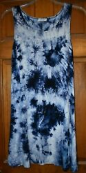 SUPER CUTE AND COMFORTABLE WOMEN'S BLUE & WHITE LONG SLEEVE DRESS - SIZE LARGE! $6.95