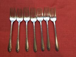 7 Vintage Silver Plate Salad Forks Wm Rogers And Sons Andldquo Exquisiteandrdquo