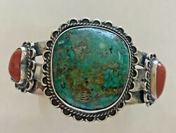 Navajo Vintage Crow Springs Turquoise And Coral Sterling Silver Cuff