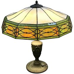 Early 20th C Bradley And Hubbard 12 Panel Slag Glass Table Lamp