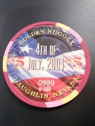 2001 Golden Nugget Casino Laughlin Nv. 4th 5.00 Chip Great For Any Collection