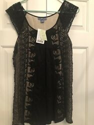 Anthropologie Tiered Lace Tunic Cute For Fall BLACK Top Size Medium $24.99