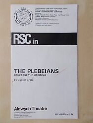 1970 Aldwych Theatre Programme - The Plebeians - Peggy Ashcroft Peter Geddis