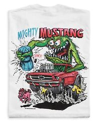 Menand039s Ed Big Daddy Roth Rat Fink Mighty Mustang White Cotton T-shirt M-3xl