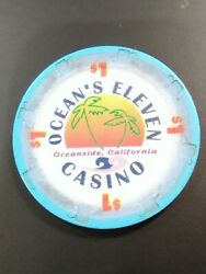 Oceans 11 Casino Oceanside California 1.00 Logo Chip Great For Collection