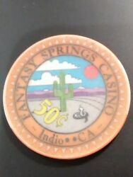 Fantasy Springs Casino Indio California .50 Cent Chip Great For Collection 1.