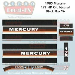 1984-85 Mercury 175hp Oil Injected V6 Black Max Outboard Repro 17pc Vinyl Decals