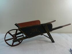 Antique Paint Decorated Childand039s Toy Wheelbarrow In Original Paint